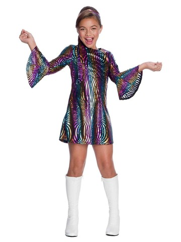Disco Diva Rainbow Swirl Dress - Child Costume