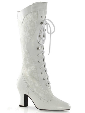 White Heel Boot With Lace