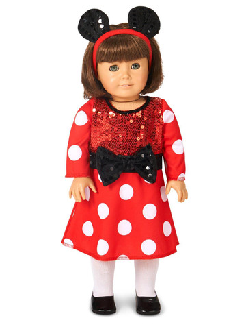 "Red and White Mouse 18"" Doll Costume"