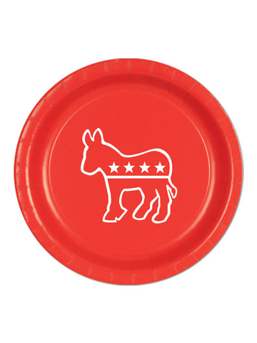 Red Democratic Plates(8 Pack)