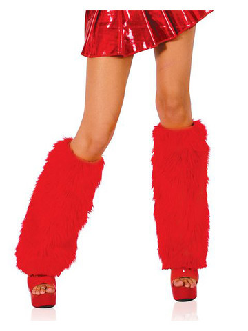 Red Fur Leg Warmers