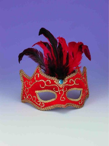 Red with Gold Trim Half Mask with Feathers