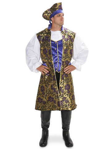 Royal Brocade Pirate Tunic Vest Set Adult Costume