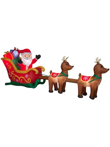5 Ft Airblown Santa Sleigh With Reindeer Scene Decoration
