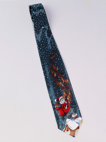 Santa's Sled Adult Christmas Tie