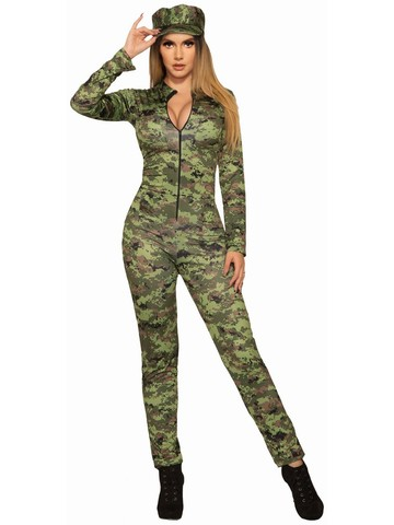 Adult Sexy Army Jumpsuit and Hat Costume