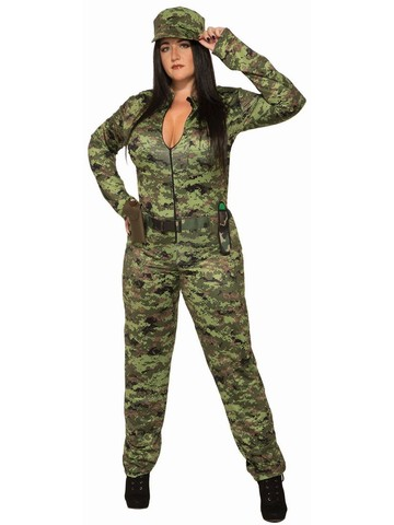 Sexy Adult Army Jumpsuit And Hat - Plus