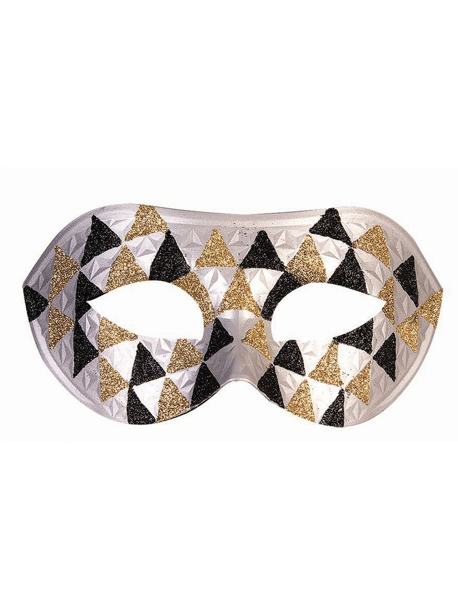 View larger image of Checkered Silver, Gold, and Black Half Mask