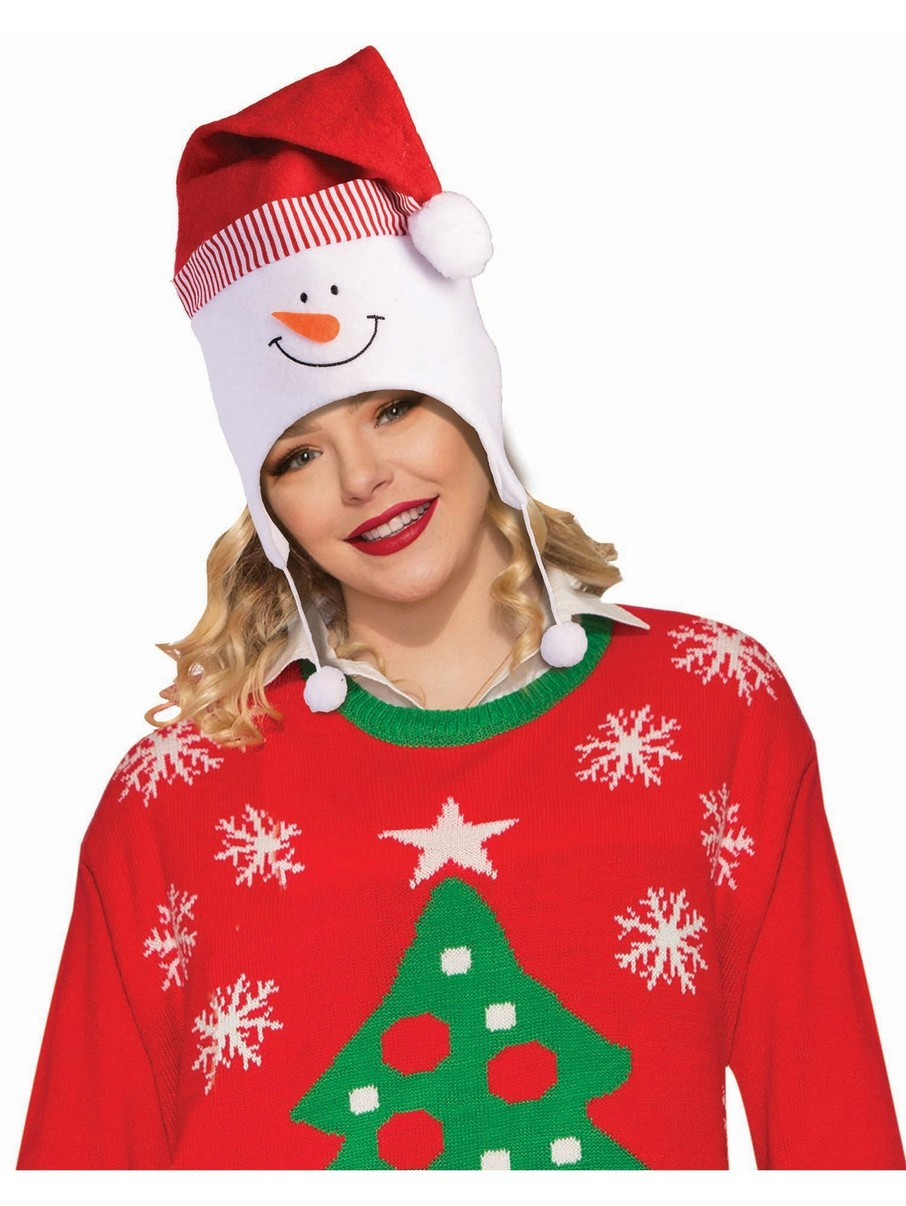 View larger image of Frosty in this Snowman Hat With Pom Poms Accessory