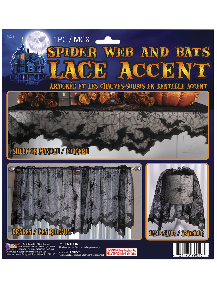 View larger image of Spider Web and Bat Lace Accent