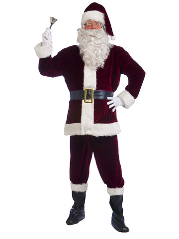 Santa Velvet Crimson Suit Costume