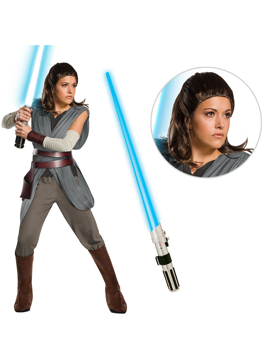 View larger image of Star Wars Ep VIII: The Last Jedi - Womens Super DLX Rey Costume with Wig and Lightsaber
