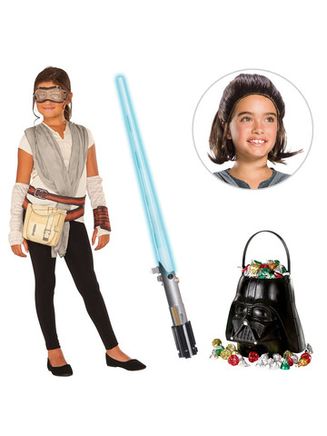 Star Wars Episode VII: The Last Jedi - Girls Rey Dress with Wig and Lightsaber Bundle