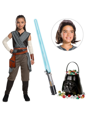 Star Wars Episode VIII: The Last Jedi - Girls Rey Costume with Wig and Lightsaber Bundle
