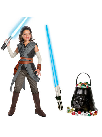 Star Wars Episode VIII: The Last Jedi - Super Deluxe Girls Rey Costume and Lightsaber Bundle
