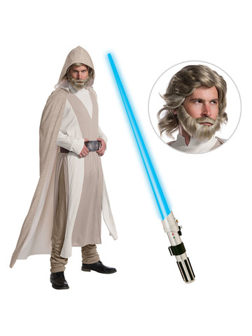 Star Wars EpVIII: The Last Jedi - DLX Mens Luke Skywalker Costume with Wig and Lightsaber