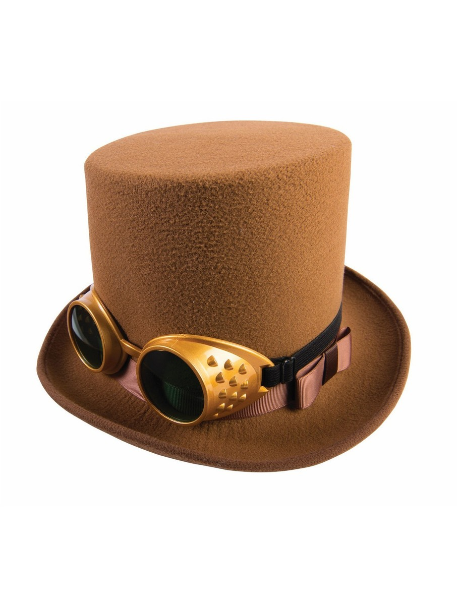 View larger image of Steampunk Hat With Goggles Brown Adult