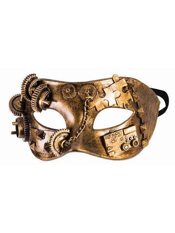 Gold Chain Gears Eye Mask Steampunk Mask
