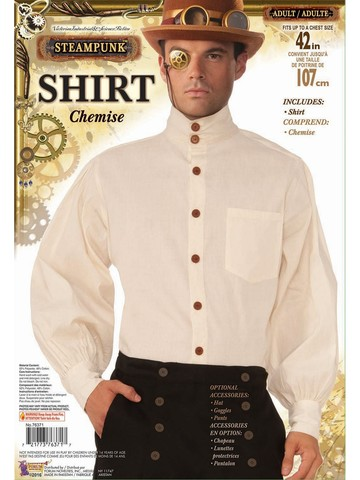 Steampunk Shirt Mens Beige Adult