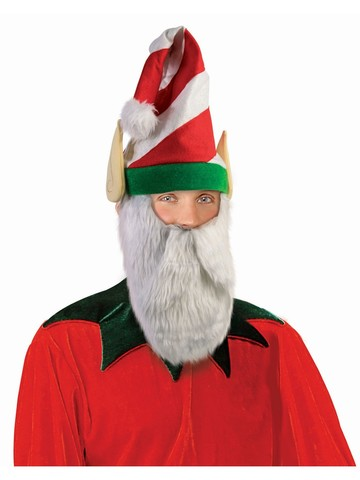 Festive Striped Elf Hat with Attached Beard