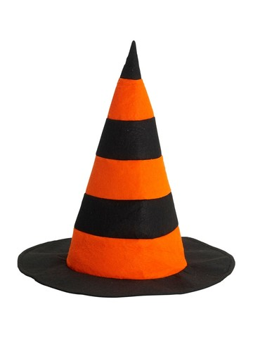 Black and Orange Witch Hat with Stripes