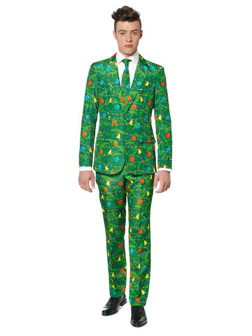 Suitmeister Christmas Green Tree Mens Suit and Tie Set