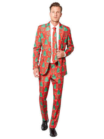Suitmeister Christmas Trees Mens Suit and Tie Set