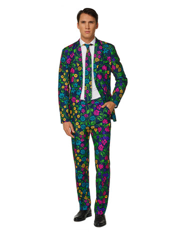 Suitmeister Floral Mens Suit and Tie Set