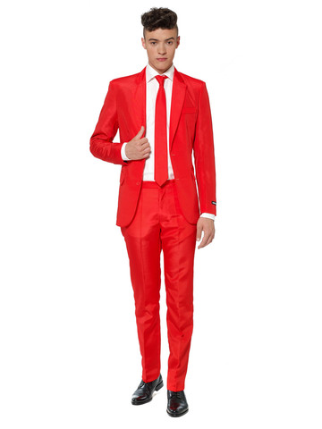 Suitmeister Shimmery Red Mens Suit and Tie Set