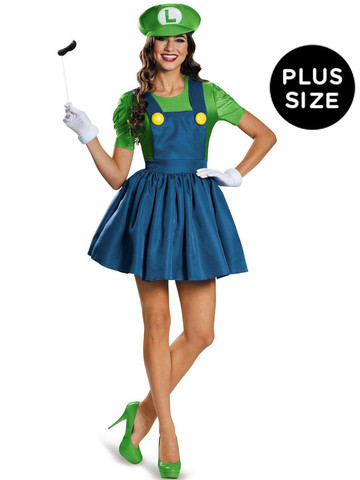 Super Mario: Plus Size Luigi Costume With Skirt For Women