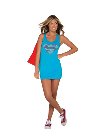 Superman Tank Dress with Rhinestones