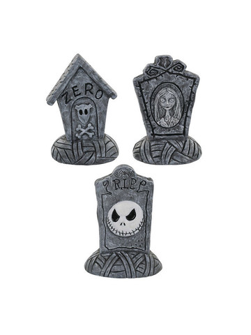 The Nightmare Before Christmas Mini Tombstone Set Jack/Sally/Zero