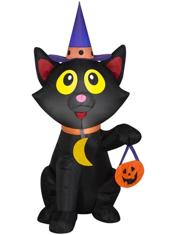 Airblown Trick or Treat Cat in Witch Hat