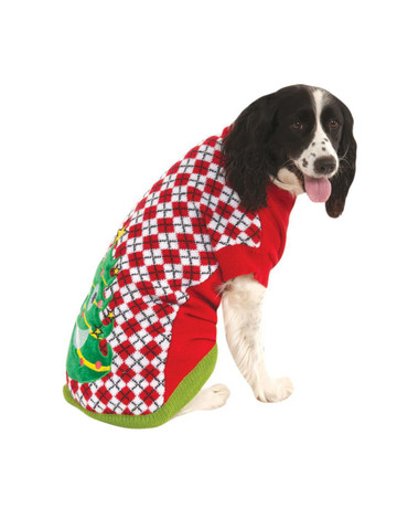 Ugly Christmas Sweater With Trees Pet Costume Classic
