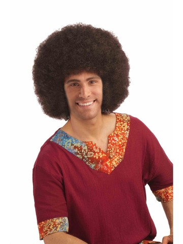 60s Unisex Brown Deluxe Big Afro Adult Wig