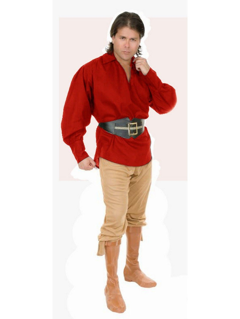 View larger image of Unisex Red Cotton Pirate Shirt for Adults