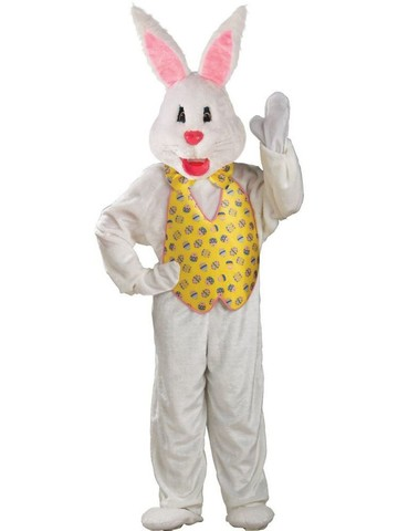 White Easter Bunny Mascot W Yellow Vest Adult Costume - Standard