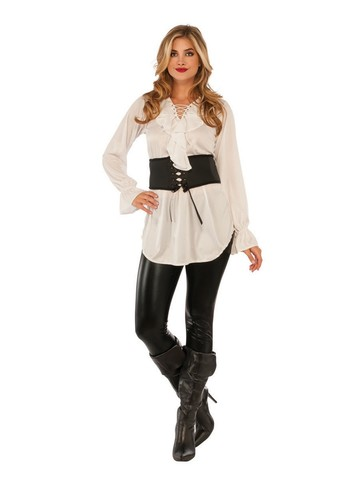 Adult White Pirate Lace-Up Blouse