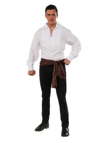 Adult White Lace Up Pirate Shirt Costume