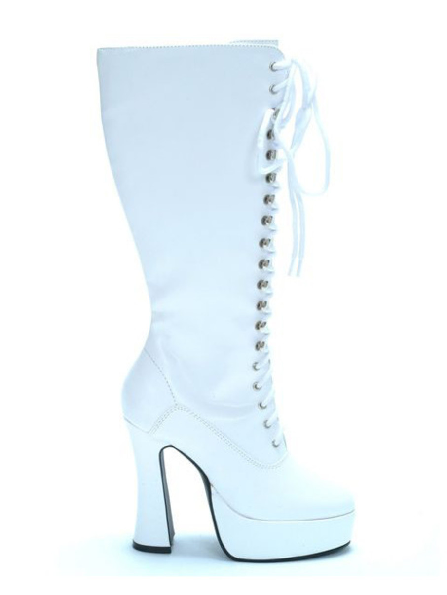 View larger image of White Patent Lace Up Boots