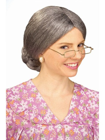 Adult Wig Old Lady With Bun Accessory