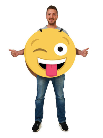 Wink/Heart 2-Sided Cardboard Emoji Costume