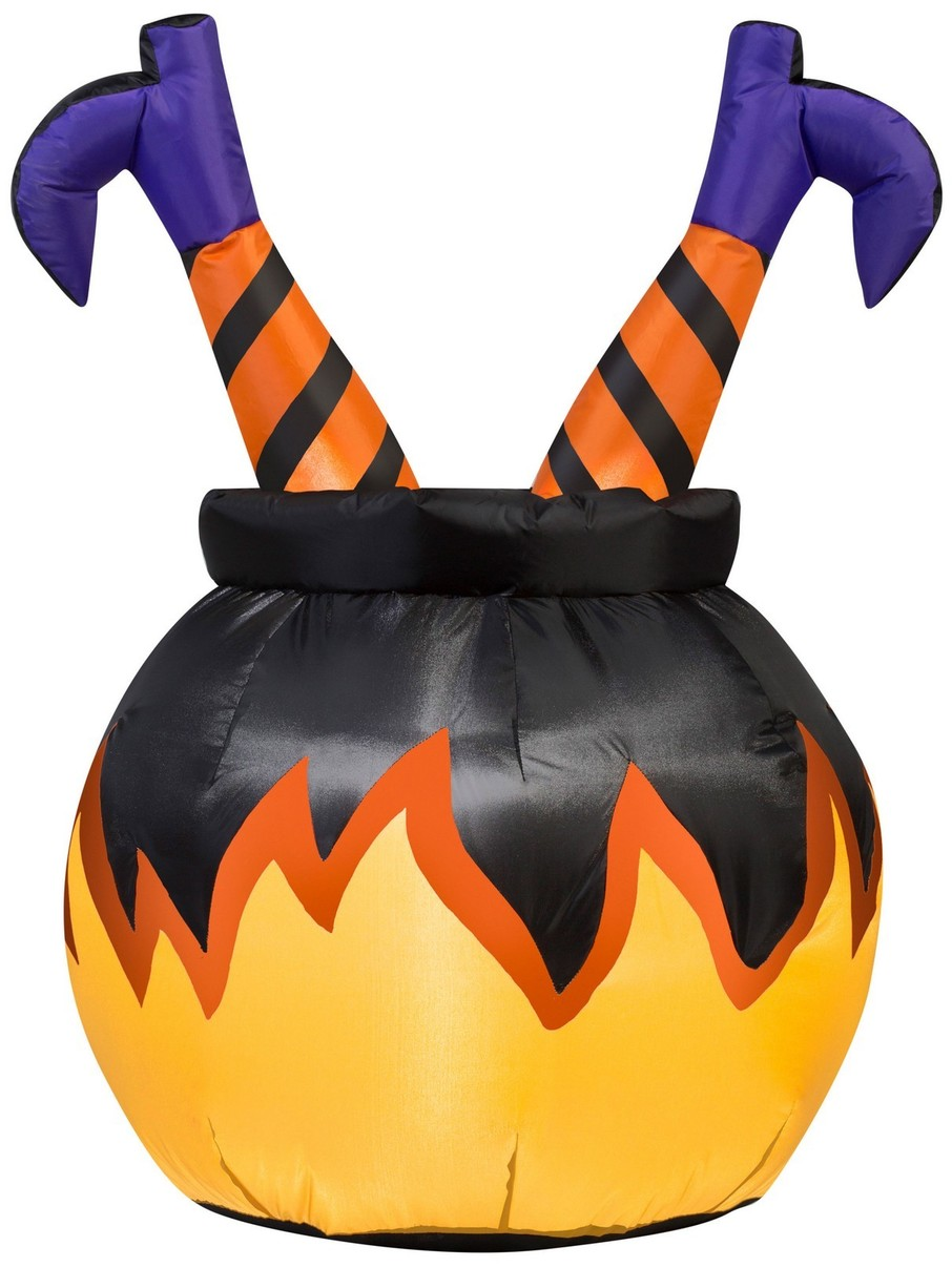 View larger image of Airblown Witch Legs In Cauldron Decoration