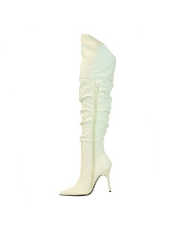 White 4 Thigh High Scrunch Boot Pump