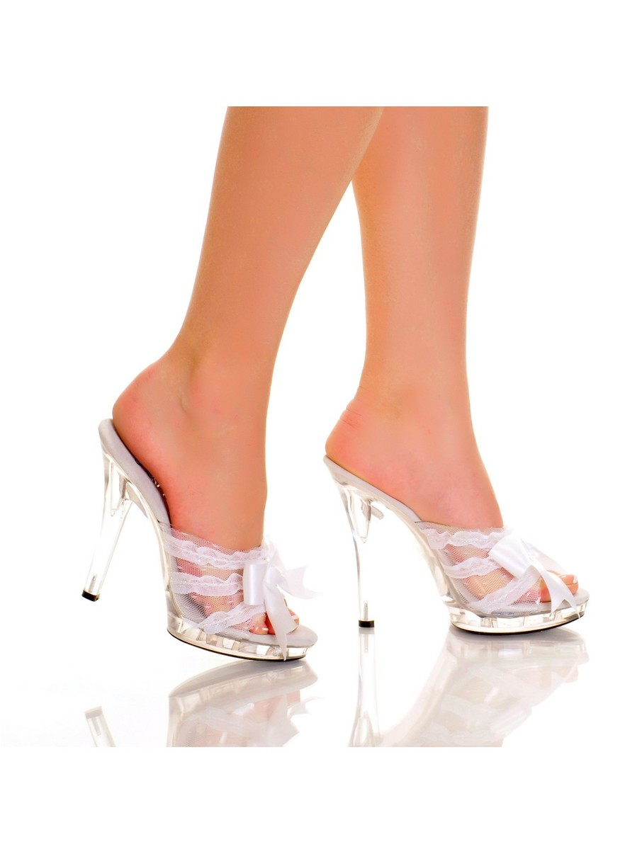 View larger image of White 5 Platform Mule with Satin Bow and Lace Vamp