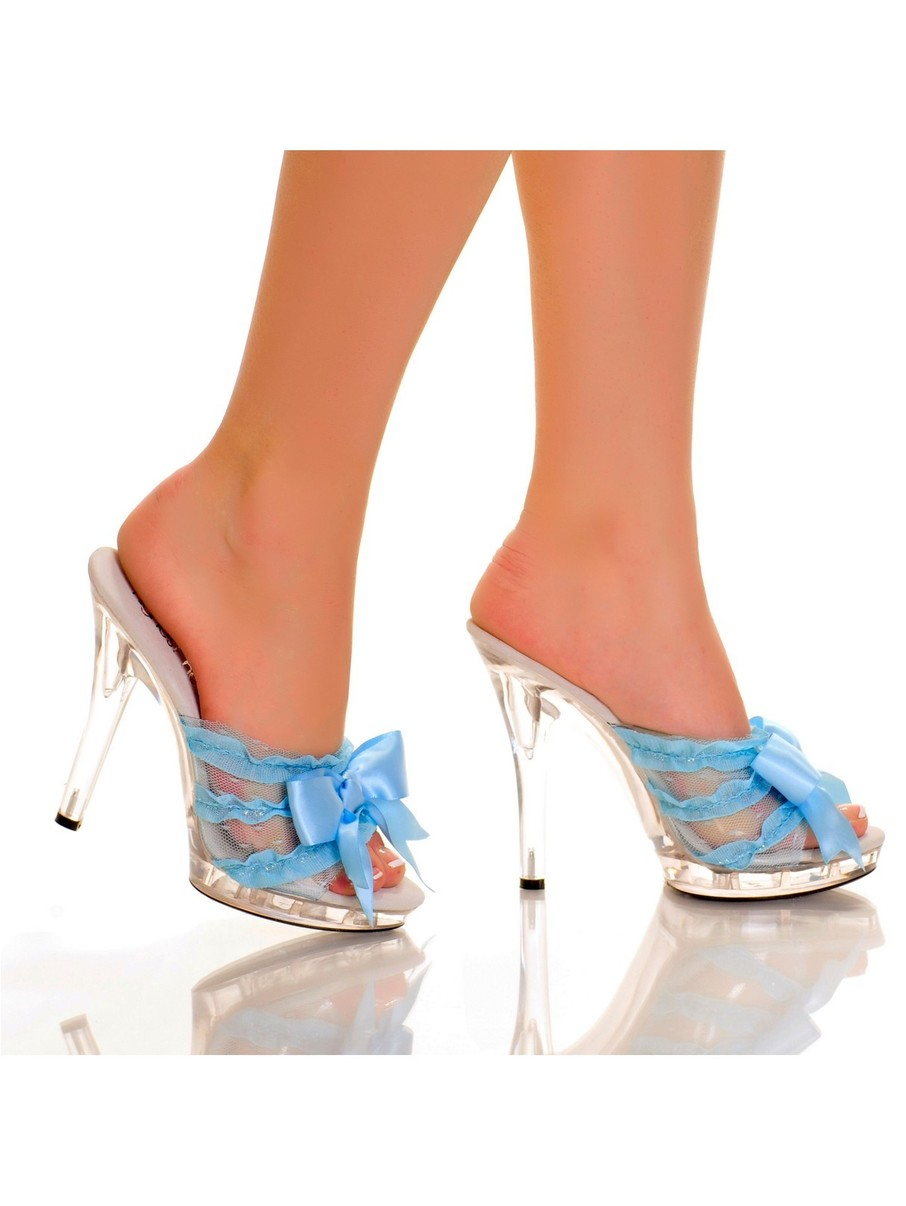 View larger image of Light Blue 5 Platform Mule with Satin Bow and Lace Vamp