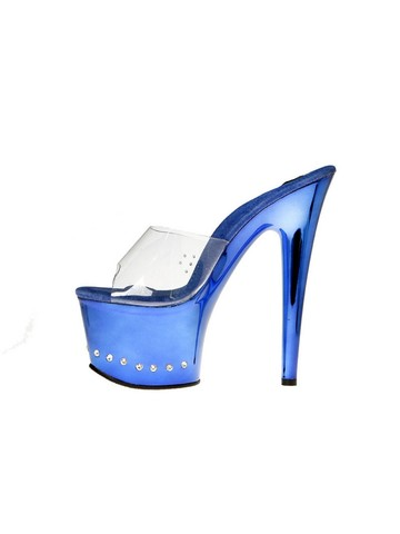 Blue 6 Platform Heels with Drilled Stones