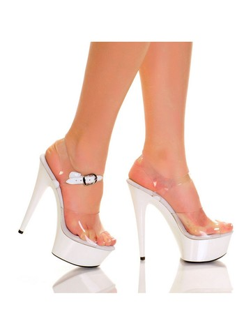 Clear Upper with Quarter Strap and Solid ABS White 6 Bottom Heels