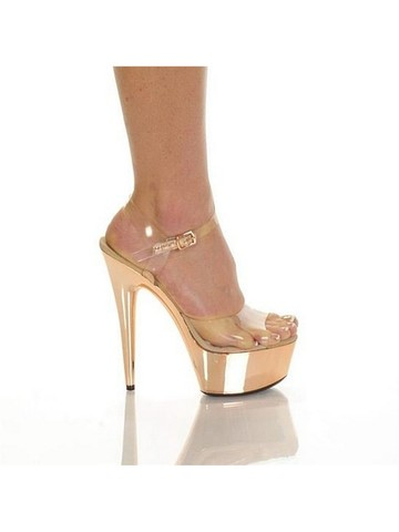 Clear Upper with Pewter Electroplated 6 Blush Bottom Heels