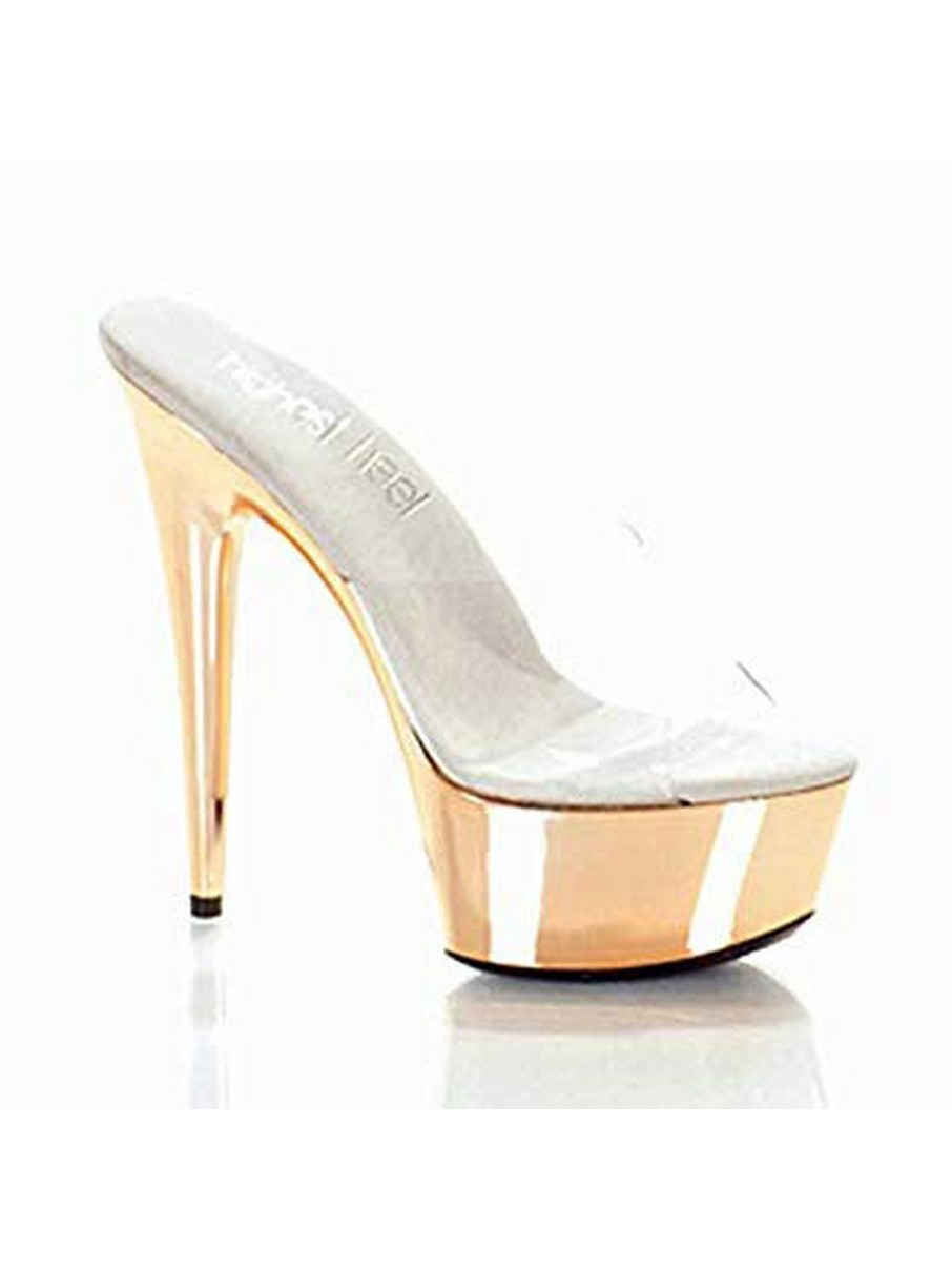 View larger image of Clear Vinyl Mule with Electroplated 6 Blush Bottom Heels